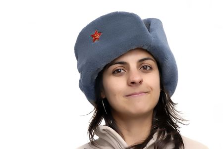 young girl with a russian hat portrait photo