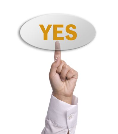 woman hand presses the yes key, isolated photo