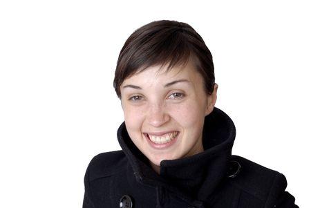 bodyscape: girl smile white teeth over white background Stock Photo