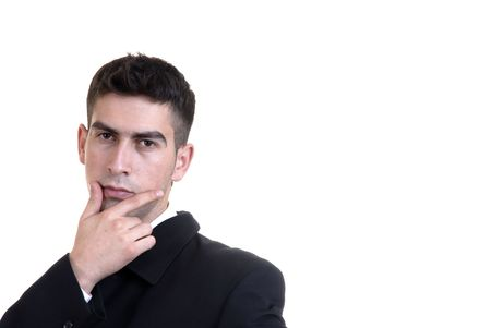 young business man thinking in a white background Stock Photo - 1998037