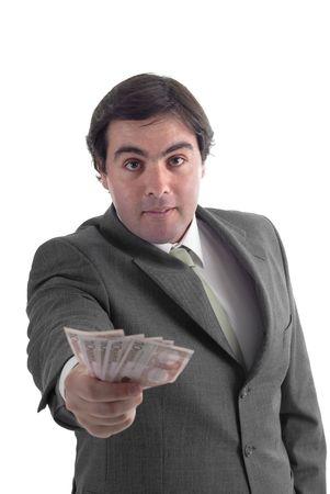 remuneraci�n: Atractiva joven hombre de negocios a en fondo blanco