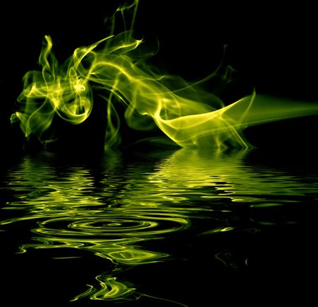 abstract colored smoke in a black background Stock Photo