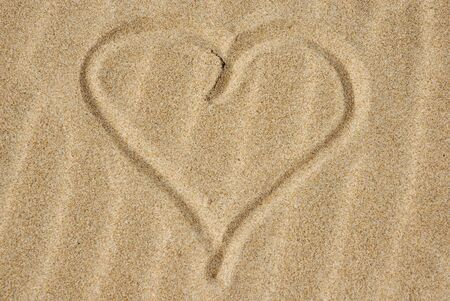 Hand drawn heart on the sand detail Stock Photo - 2009254