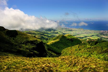 portugal agriculture: azores landscape view at sao miguel island Stock Photo