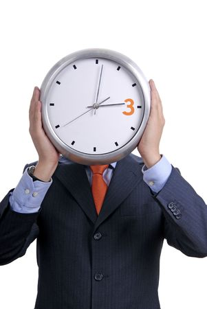 Caucasian man wearing suit holding clock in the head Stock Photo - 2014734