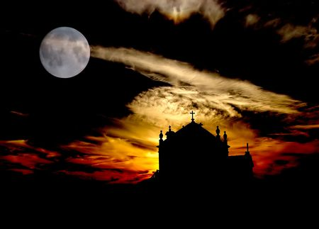 church at the beach with full moon Stock Photo - 2014700