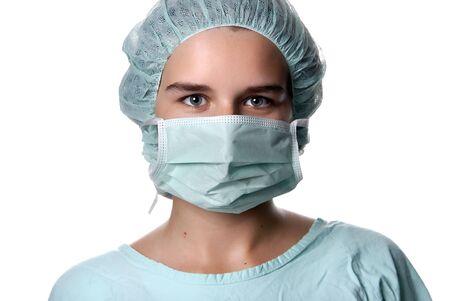 young woman nurse portrait, close up picture photo