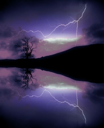 jolt: computer generated digital art of a lightning in the lake