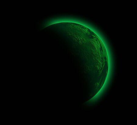 illustration of a strange planet in black sky illustration
