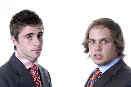 two young business men portrait on white. photo