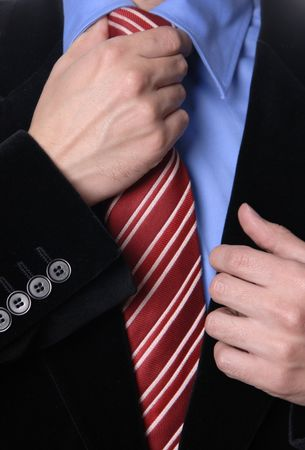 detail of a Business man Suit with red tie Stock Photo - 2044532
