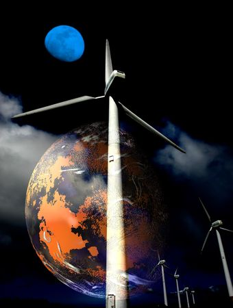 illustration of a concept of the future, the need of wind turbines Stock Illustration - 2067465