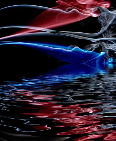 ze: abstract colored smoke in a black background with reflection Stock Photo