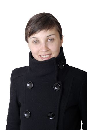 human likeness: girl smile white teeth over white background Stock Photo