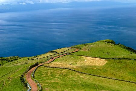 agriculture azores: fields on the azores coast, island of S. Miguel