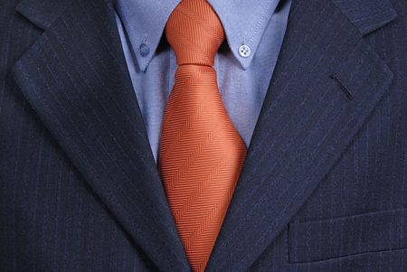 pinstripes: detail of a Business man Suit with red tie Stock Photo