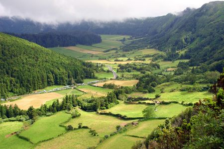 agriculture azores: azores natural landscape in s miguel island Stock Photo