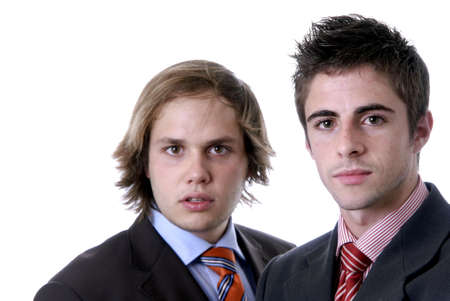 two young business men portrait on white. focus on the man of the right photo