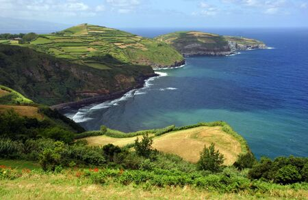 azores coastal fields at sao miguel island 스톡 콘텐츠