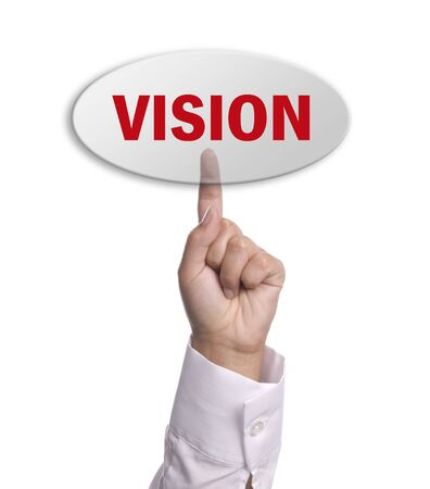 woman hand presses the vision key, isolated