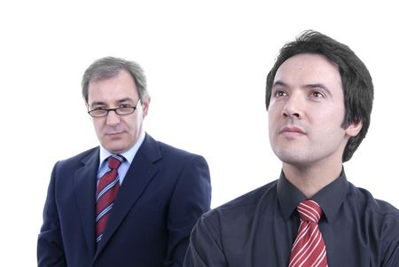 two business men portrait on white. focus on the right man Stock Photo - 2241055