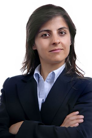 business woman portrait over a white background photo