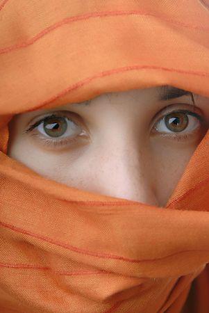 young woman close up portrait, studio picture