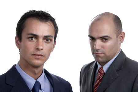 two young business men portrait on white. focus on the left man Stock Photo - 2317828