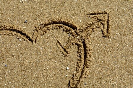 love message, an heart draw in the sand Stock Photo - 2356479