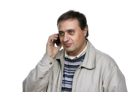 man on the phone over a white background Stock Photo - 2384322