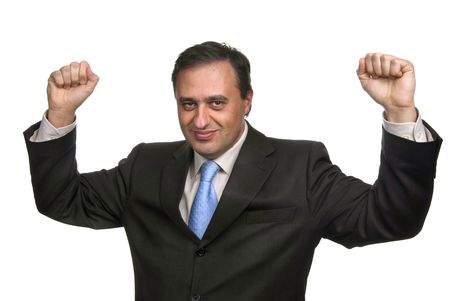 successful business man with arms isolated on white Stock Photo - 2384327