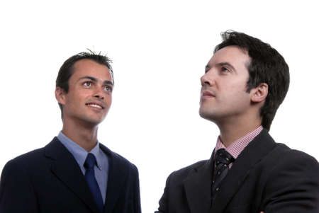 two young business men portrait on white. focus on the right man photo