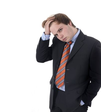 hardworker: worried business man portrait in a white background Stock Photo
