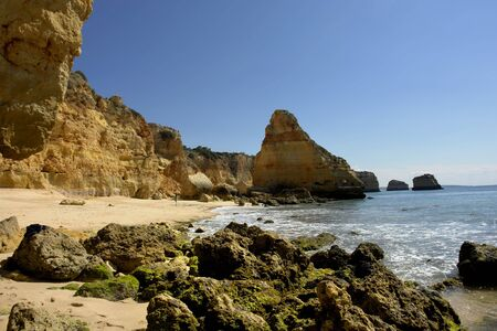 small beach at algarve in the south of portugal