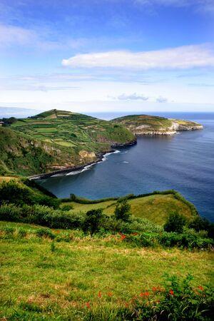 azores coastal fields at sao miguel island Stock Photo