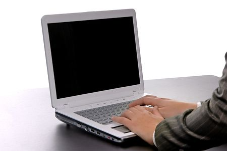 woman hands working with computer isolated on white