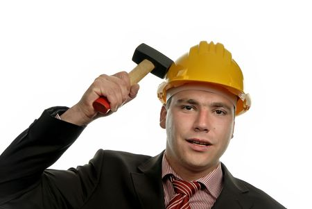 young male worker portrait with a hammer photo