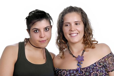 two young casual women, focus on the left woman photo