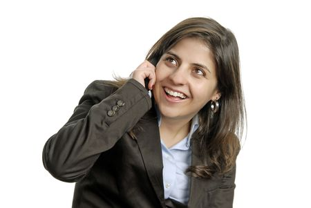 business woman on the phone over a white background photo