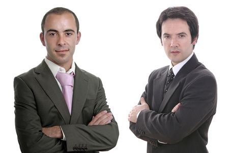 two young business men portrait on white photo