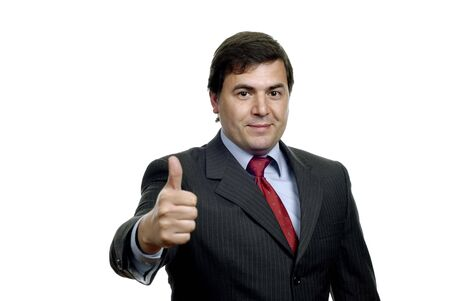 young business man going thumb up, on white photo