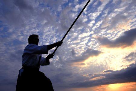 aikido: young aikido man fighter at sunset light