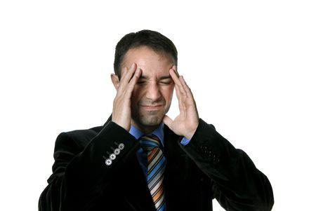Businessman in a suit gestures with a headache Stock Photo - 3015813