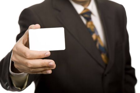 Hand of businessman offering businesscard on white background photo