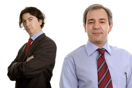 two business men portrait isolated on white Stock Photo - 3174680