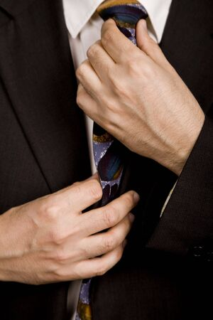 silk wool: detail of a Business man suit with colored tie