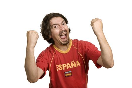 spanish young man supporter, isolated on white Stock Photo