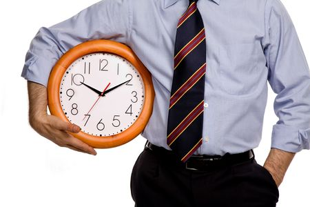 business man with a clock on white background photo
