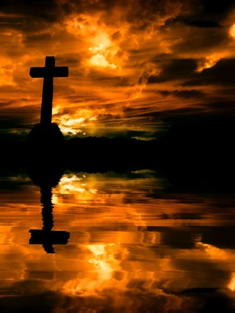 almighty: cross silhouette and the clouds at sunset