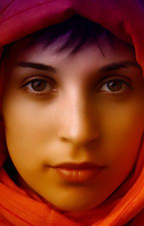 young woman close up portrait, studio picture photo